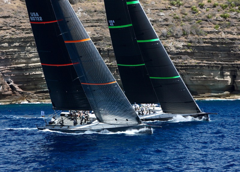 Bella Mente and Proteus battle it out under Fort Charlotte - Photo RORC/Tim Wright