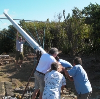 Raising the flagstaff on top of Fort Charlotte