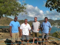 Fort Charlotte flag pole  creators: (L-R) Ainslie Rhodes, Steve Spannis, Russell 'Sprout' Morton  and Stan Pearson