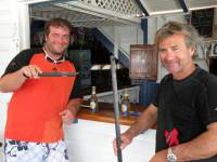 Alain Delhumeau (right) skipper of Rayon Vert with Thomas Bourget safe in the Antigua Yacht Club. Photo: RORC/Louay Habib