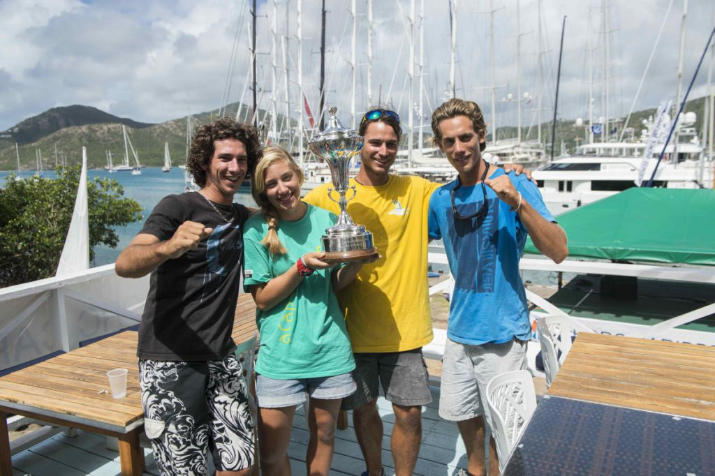 Guadeloupe Grand Large sailors with the RORC Caribbean 600 IRC Overall Trophy. Credit: RORC/Ted Martin