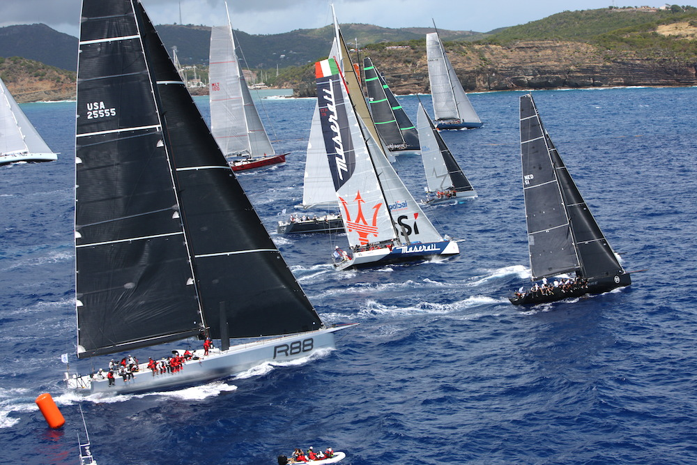 IRC Zero and Canting Keel class, including George David's Rambler 88 and John Elkann's VO 70, Maserati, start the RORC Caribbean 600. Credit: RORC/Tim Wright/www.photoaction.com