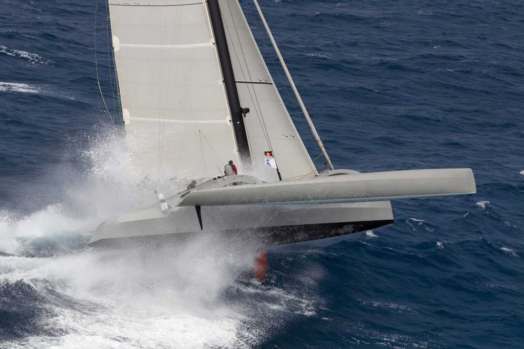 Paradox, Nigel Irens designed trimaran sailed by Peter Aschenbrenner. Photo: RORC/Tim Wright photoaction.com