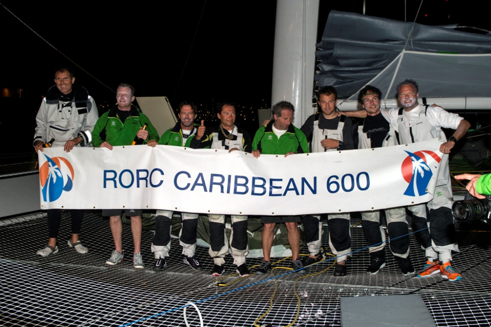 The crew of Phaedo3, led by owner Lloyd Thornburg, at the finish of the RORC Caribbean 600. Credit: RORC/Ted Martin/www.photofantasy.zenfolio.com