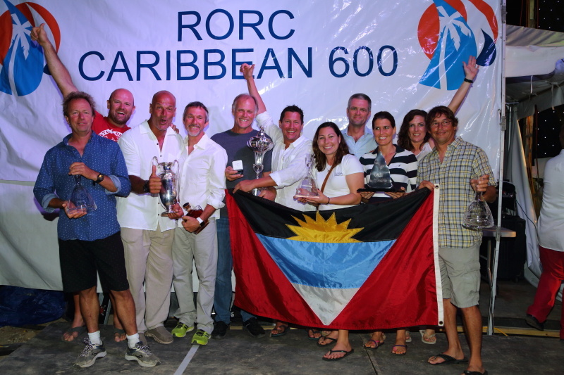 Overall winner of the 2016 RORC Caribbean, George Sakellaris' Maxi72, Proteus (USA). Photo: Tim Wright/photoaction.com