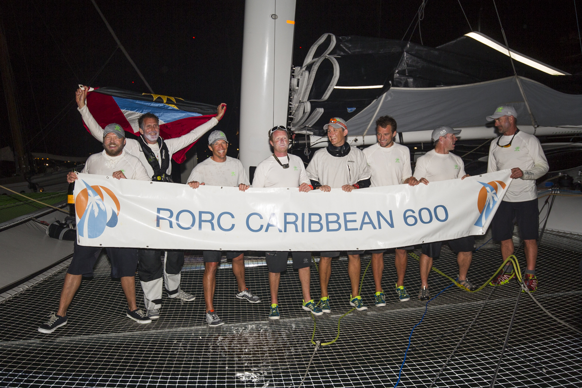 Team Phaedo celebrating their record creaking race © RORC/Emma Louise Wynn Jones