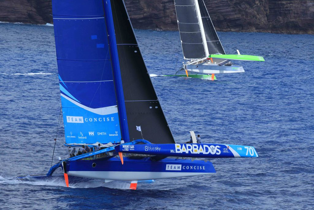 Lloyd Thornburg's MOD70 Phaedo3 and Tony Lawson's MOD70 Concise 10 at the start of the RORC Caribbean 600 Race © RORC/Tim Wright