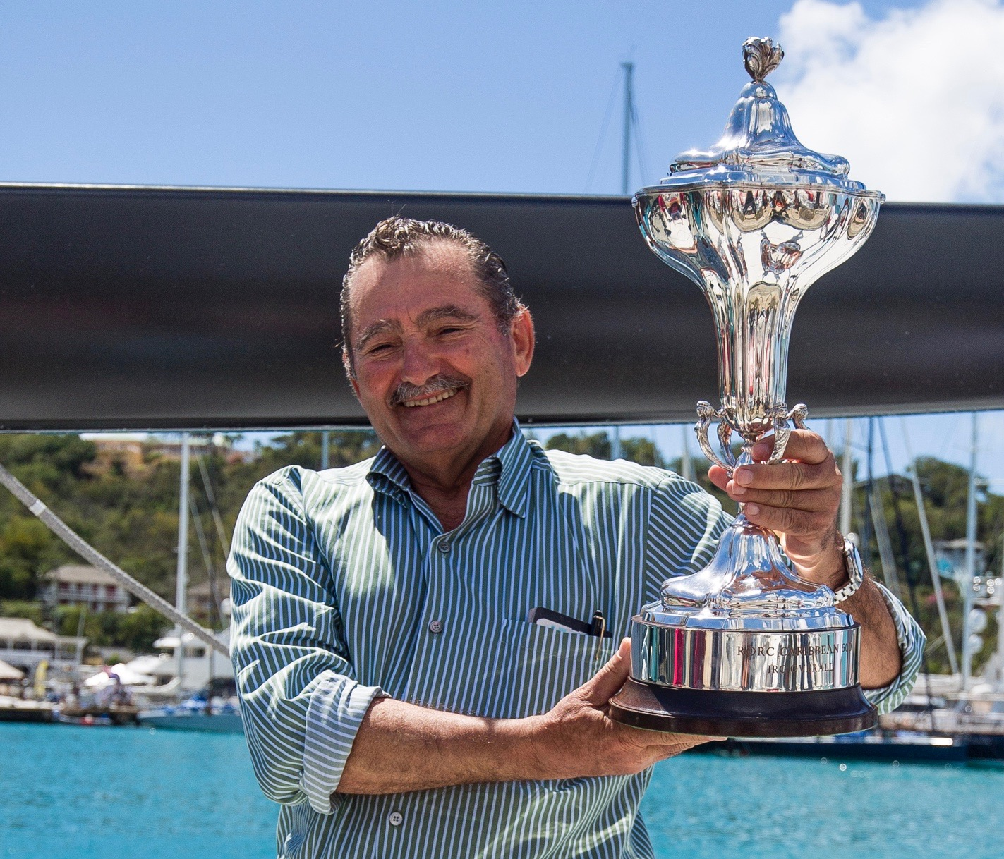 George Sakellaris receives the RORC Caribbean 600 Trophy  © RORC/Emma Louise Wyn Jones