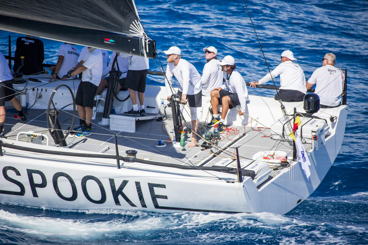 Steve Benjamin's American TP52, Spookie currently leading IRC overall after IRC time correction. © RORC/Emma Louise Wyn Jones
