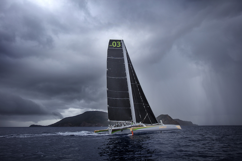 Phaedo battling a big squall south of Guadeloupe - photo Team Phaedo / Richard Langdon