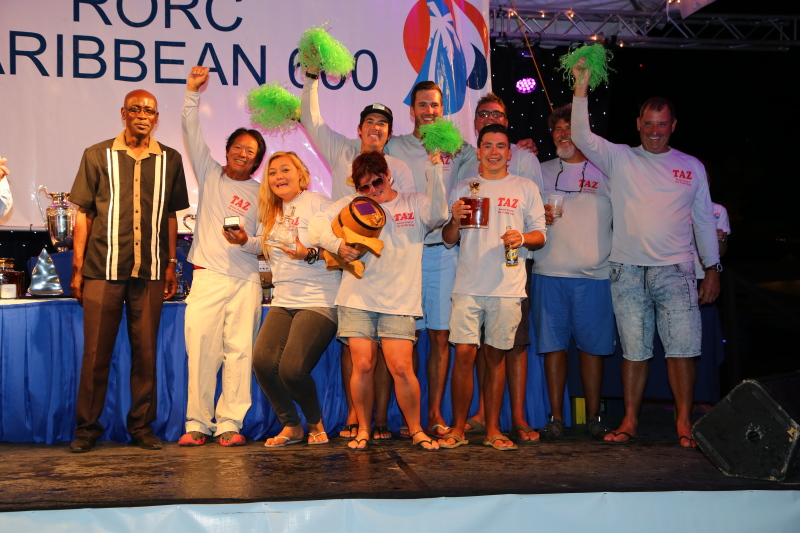 Antiguan sailor, Bernie Evan-Wong has competed in all 9 editions of the RORC Caribbean 600 and he was rewarded for his continued support by winning IRC One overall as well as the Best Caribbean Yacht in CSA. Colin James, CEO of Antigua & Barbuda Tourism Authority presented the prizes to Bernie and his crew on the Reicehl-Pugh 37, Taz Credit: RORC/Tim Wright/photoaction.com
