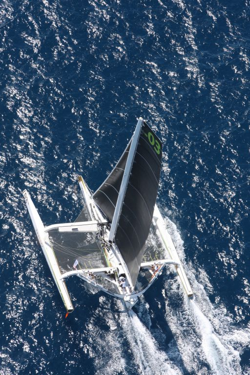 Phaedo 3 excelerating away from the start in the 2017 RORC Caribbean 600 - Photo RORC/Tim Wright