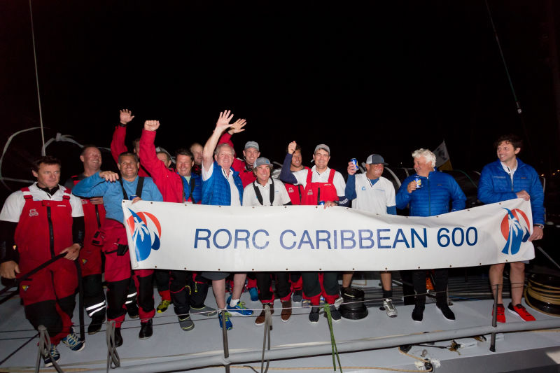 Rambler 88 crew celebrate on arrival in Antigua © RORC/Tim Wright/photoaction.com