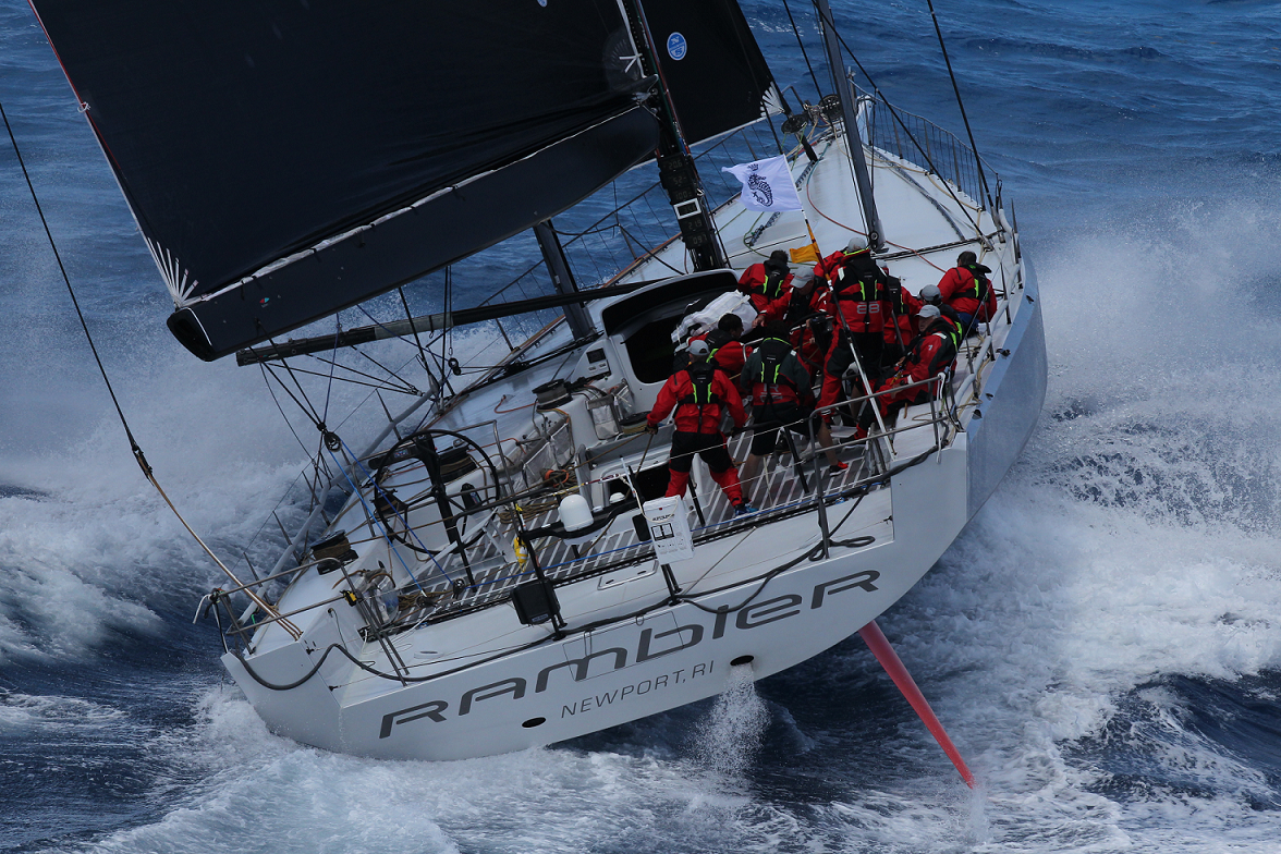 George David's American Maxi Rambler 88 crossed the finish line in Antigua on Wednesday 21st February at 01:21:45 AST in an elapsed time of 1 day 13 hours 41 minutes and 45 seconds, setting a new monohull race record.