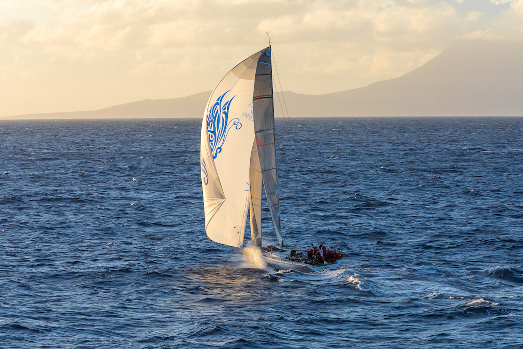 Lady Mariposa approaches Redonda at sunset on the fourth day of the race © RORC/Arthur Daniel