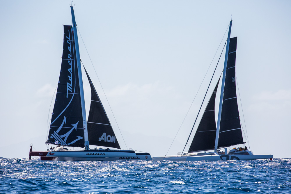 Giovanni Soldini's Multi70 Maserati and Jason Carroll's MOD 70 at the start of the RORC Caribbean 600  © Rachel Fallon-Langdon