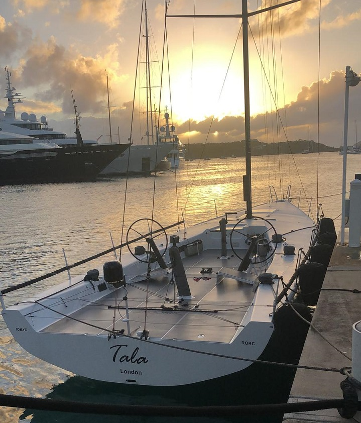 Pete Redmond will be working alongside a wealth of talented sailors on board the British TP52 Tala  © Tala at the dock in Antigua Yacht Club Marina, ready for the start