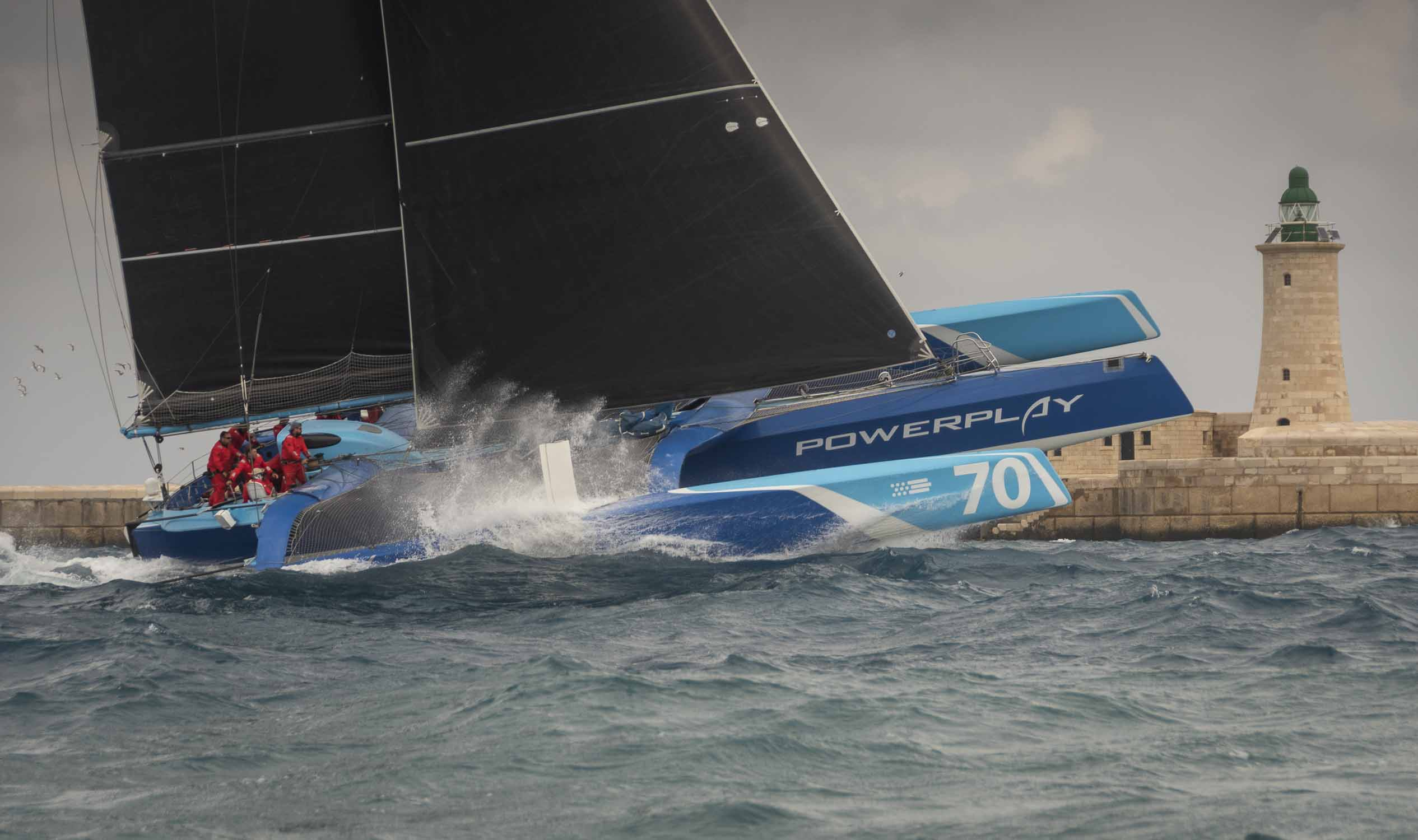 Skippered by Ned Collier Wakefield, Peter Cunningham's MOD70 PowerPlay will compete alongside Maserati (ITA) and Argo (USA) Credit: boat-solutions.com