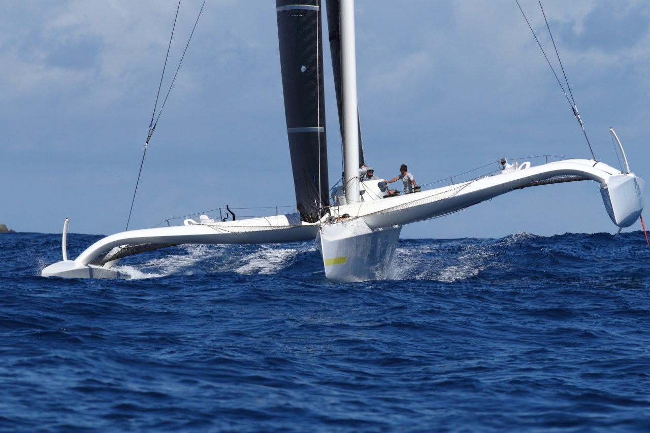Multihull Line Honours battle is on: Jason Carroll's Argo (USA) at St Barths © Tim Wright/Photoaction.com