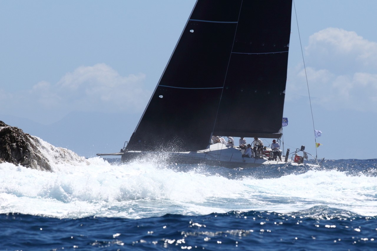 Eric de Turckheim's NMD54 Teasing Machine (FRA) at St Barths on the second day of the RORC Caribbean 600 © Tim Wright/Photoaction.com