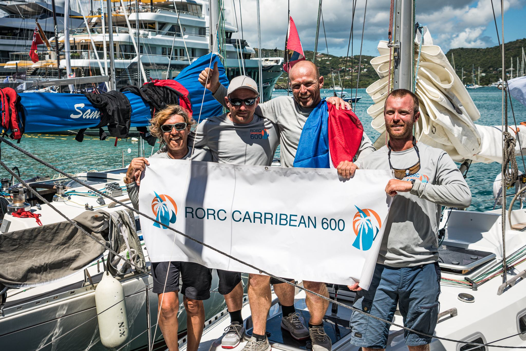 Yoyo Gerssen's Cabbyl Vane, Ohlson 35 was the last to finish but received a huge welcome on the dock at Antigua Yacht Club © RORC