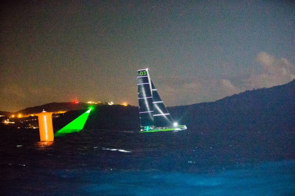 Phaedo3 crossing the line to break the Multihull record (c) Rachel Fallon Langdon