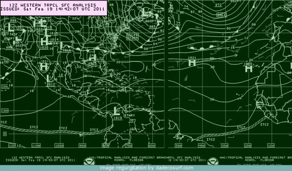 Synoptic Chart for Caribbean Islands Sat 19th Feb 2011