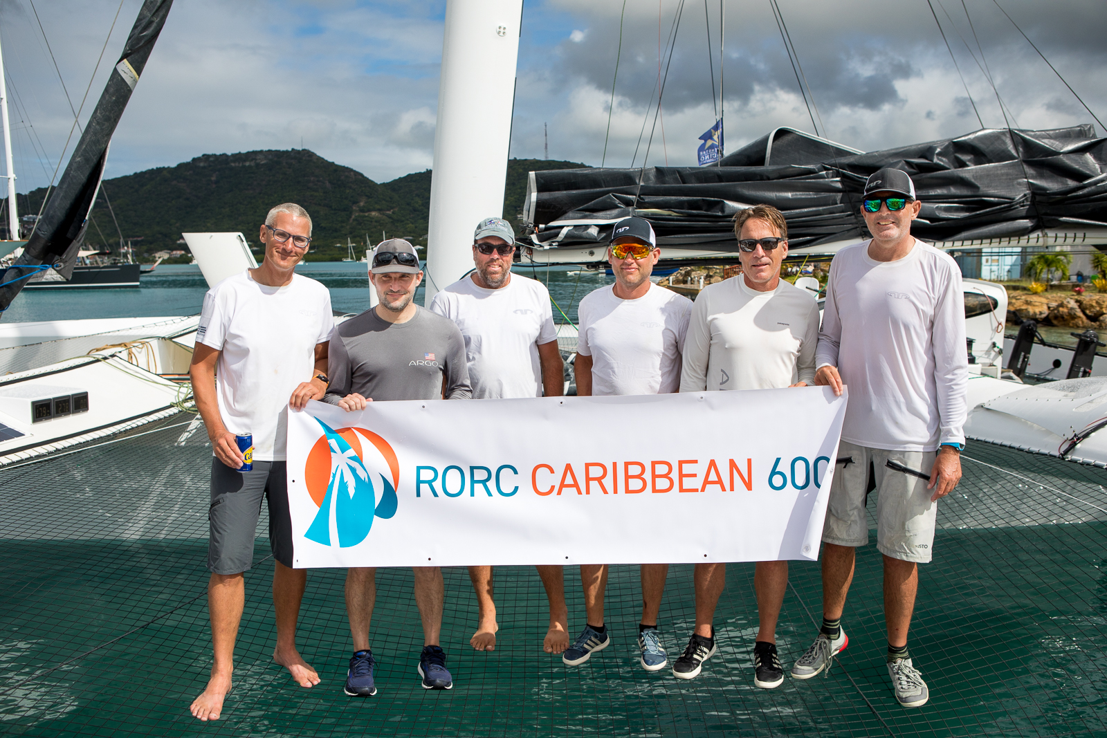 Team Argo for the RORC Caribbean 600: Franck Cammas (not in photo), Jason Carroll, Charles Corning, Thierry Fouchier, Artie Means, Alister Richardson, Brian Thompson © Arthur Daniel/RORC