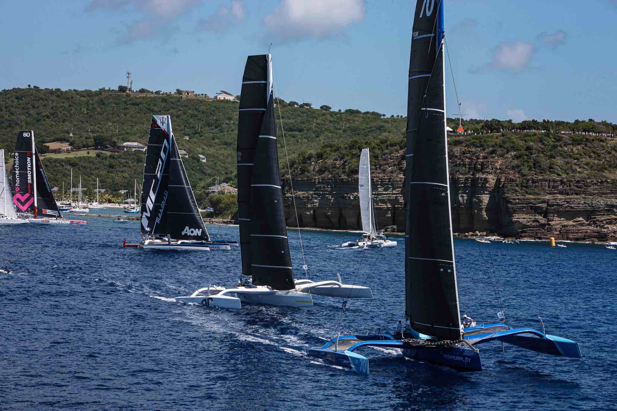 PowerPlay, Argo and Maserati at the start of the RORC Caribbean 600 from Antigua © Tim Wright/Photoaction.com